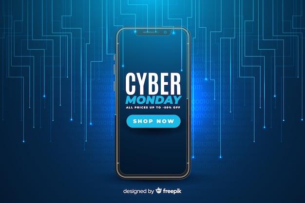 Realistische cyber maandag-technologie Gratis Vector