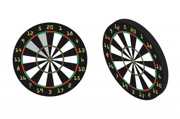 Realistische dartborden op de witte achtergrond. concept van sport, recreatie en vrije tijd. Premium Vector