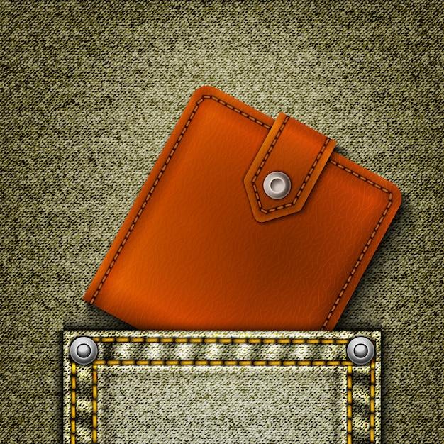 Realistische denim met portemonnee in zak Premium Vector