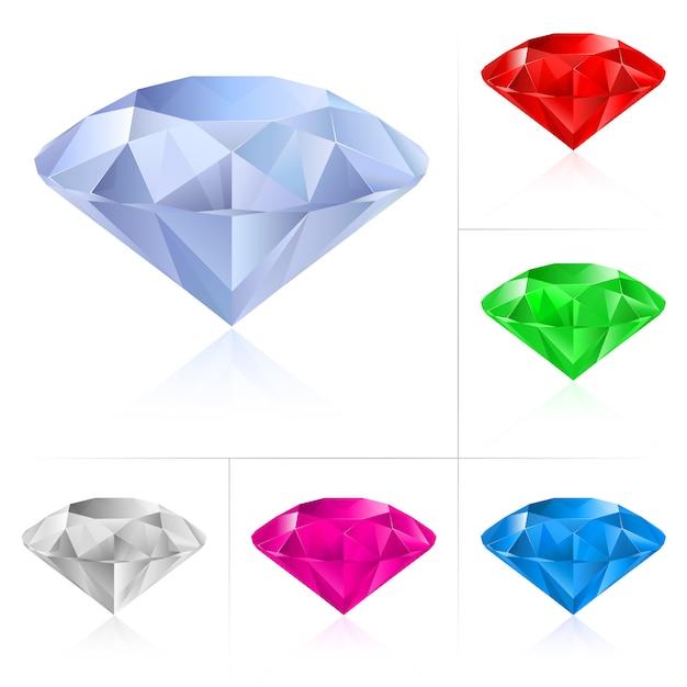 Realistische diamanten in verschillende kleuren Premium Vector