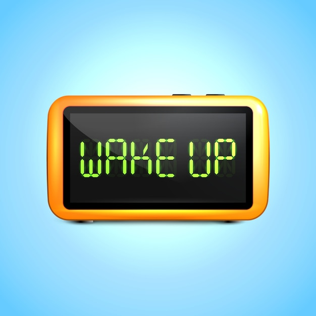 Realistische digitale wekker met lcd-display wakker concepttekst Gratis Vector