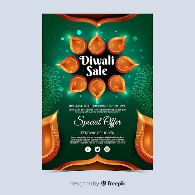 Realistische diwali festival speciale aanbieding poster Gratis Vector