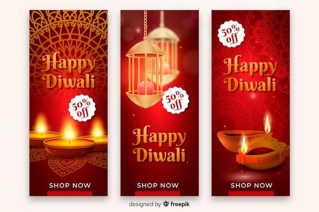 Realistische diwali festival verkoop banner Gratis Vector