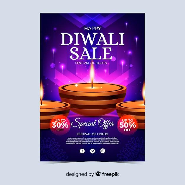Realistische diwali festival verkoop poster Gratis Vector