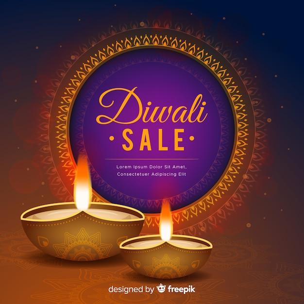 Realistische diwali-verkoop met gradiënt Gratis Vector