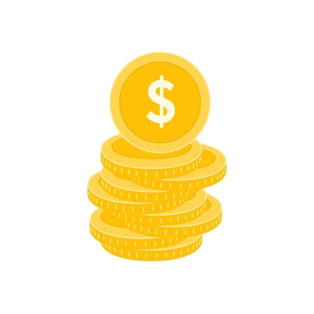 Realistische dollar munt Premium Vector