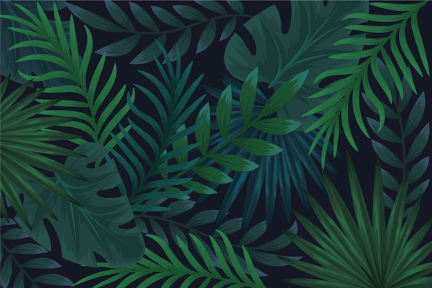 Realistische donkere tropische bladerenachtergrond Gratis Vector