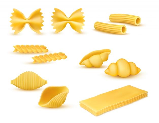 Realistische droge macaroni verschillende soorten set, pasta-assortiment, italiaanse keuken, pasta, farfalle, conchiglie, rigatoni, fusilli, gnocchi, lasagne, vectorillustratie geïsoleerd op witte achtergrond Premium Vector