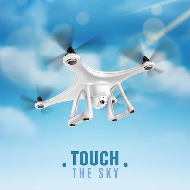 Realistische drone in sky illustratie Gratis Vector