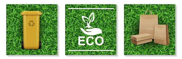 Realistische ecologie en natuurelementen instellen met plastic bak voor afvalrecycling hand met plant-logo Gratis Vector