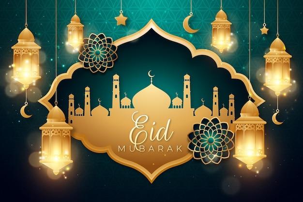 Realistische eid mubarak-achtergrond met kaarsen en moskee Gratis Vector