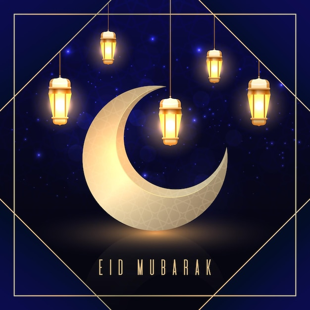 Realistische eid mubarak met maan en lantaarns Gratis Vector