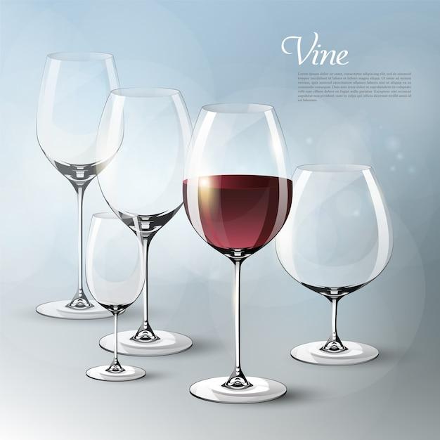 Realistische elegante wijnsjabloon met lege en volle glazen van verschillende grootte op grijs Gratis Vector