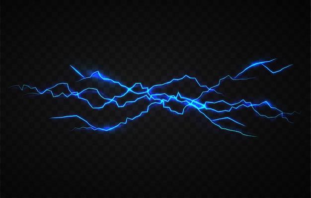 Realistische elektriciteitsvisueel effect ontwerpsjabloon Premium Vector