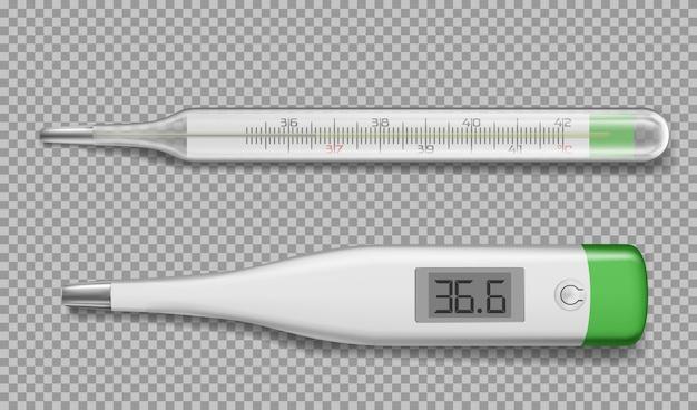 Realistische elektronische thermometers en glazen apparaat Gratis Vector