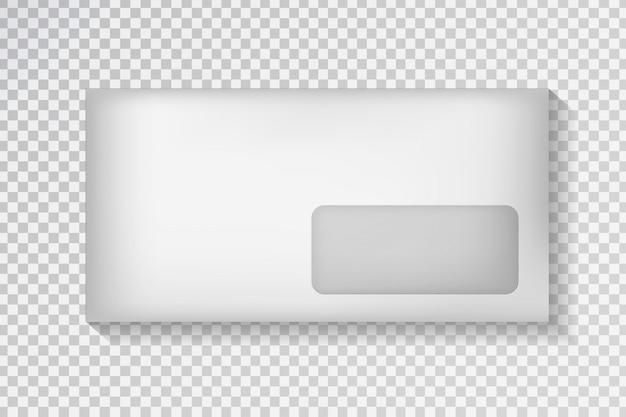 Realistische envelop op de transparante achtergrond. witte pakketsjabloon voor decoratie en huisstijl. Premium Vector