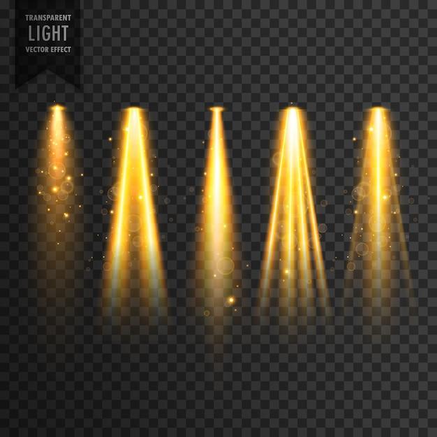 Realistische fase lichten of concert schijnwerpers vector transparant effect Gratis Vector