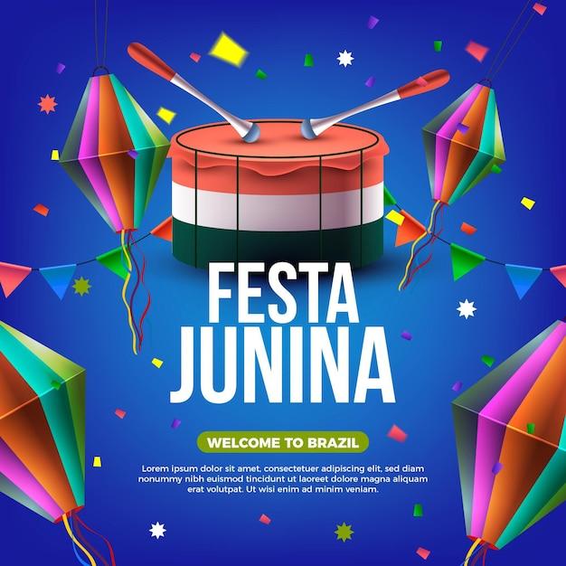 Realistische festa junina-gebeurtenisillustratie Gratis Vector