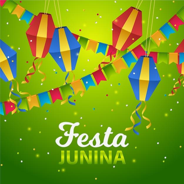 Realistische festa junina-vliegers en -slinger Gratis Vector