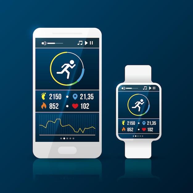 Realistische fitness tracker armband illustratie met telefoon en slim horloge Gratis Vector