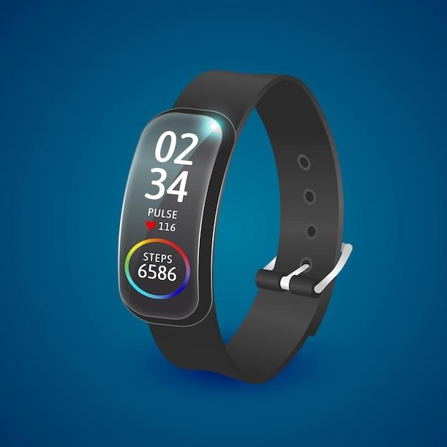 Realistische fitness tracker armband illustratie Gratis Vector