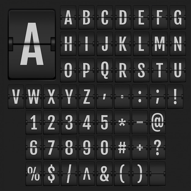 Realistische flip alfabet en cijfers. Premium Vector