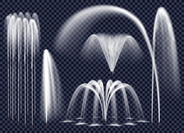 Realistische fonteinen op transparante achtergrond instellen Gratis Vector