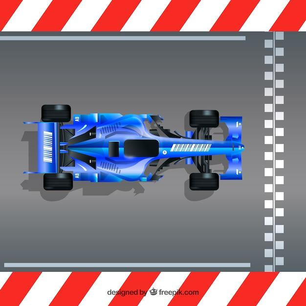Realistische formule 1 raceauto op de finishlijn Gratis Vector