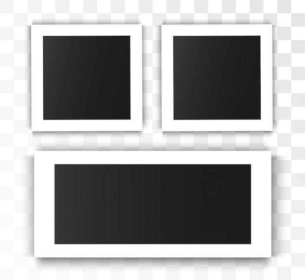 Realistische fotolijst op transparante achtergrond. set van foto Premium Vector
