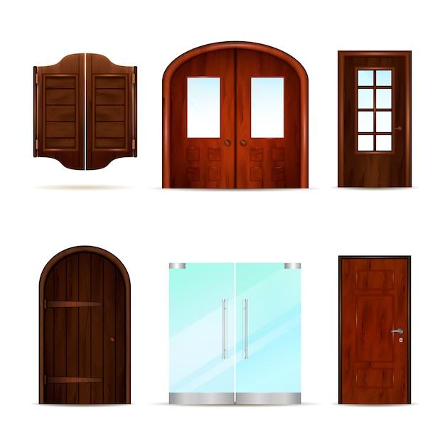 Realistische front doors-collectie Gratis Vector