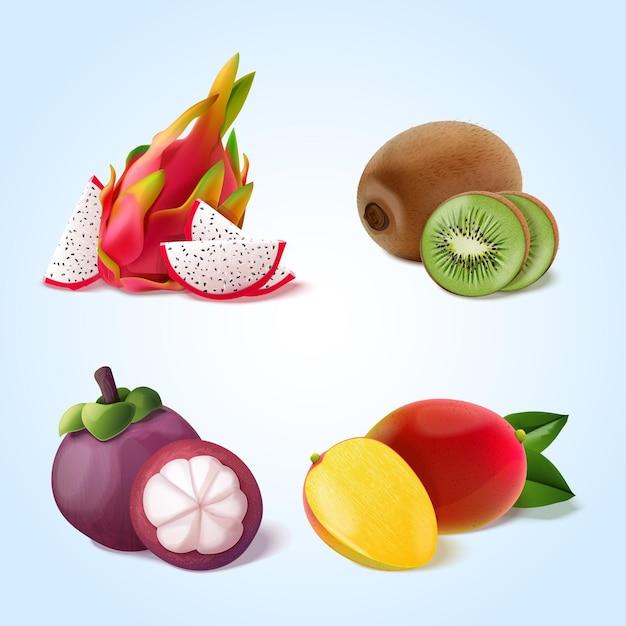 Realistische fruitcollectie Gratis Vector