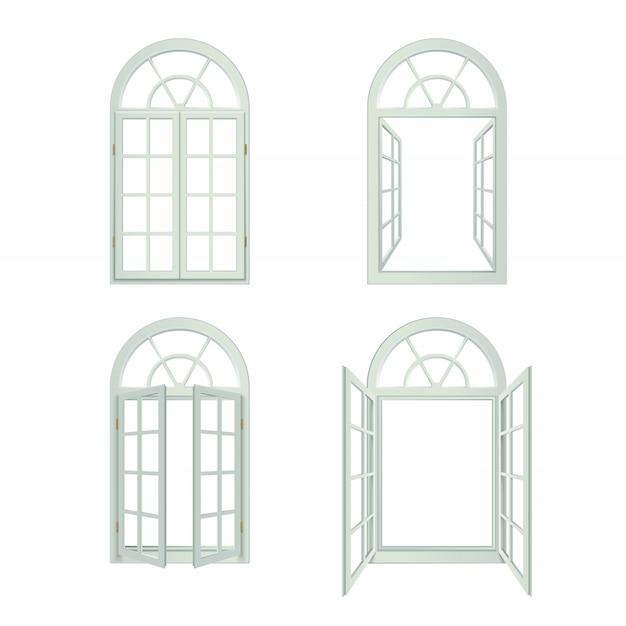 Realistische gebogen vensterset Gratis Vector