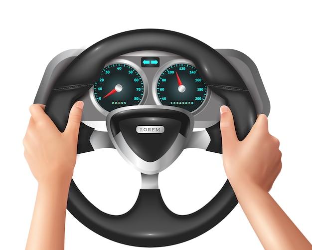 Realistische geïsoleerde handen stuurprogramma in de auto Gratis Vector