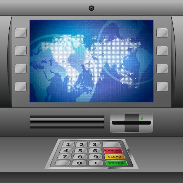 Realistische geldautomaat Premium Vector