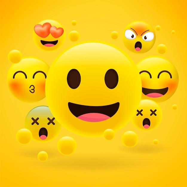 Realistische gele emoticons op geel Premium Vector