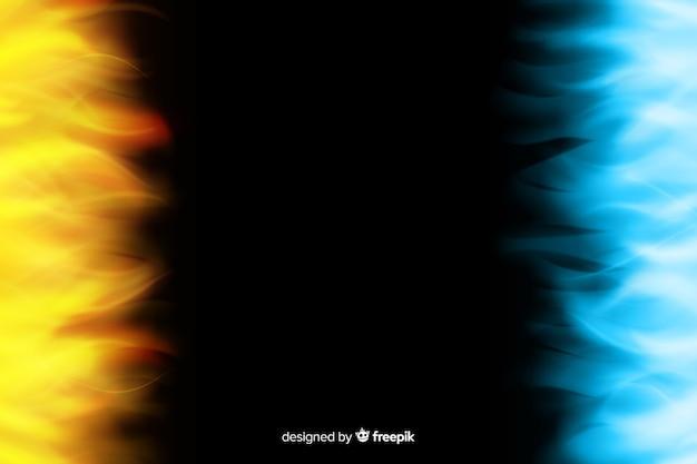 Realistische gele en blauwe vlammenachtergrond Gratis Vector