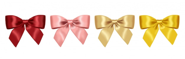 Realistische gele, rode, roze en gouden boog, grote vastgestelde boog, feestelijke decoratie, partijelement isoleerde witte illustratie als achtergrond Premium Vector