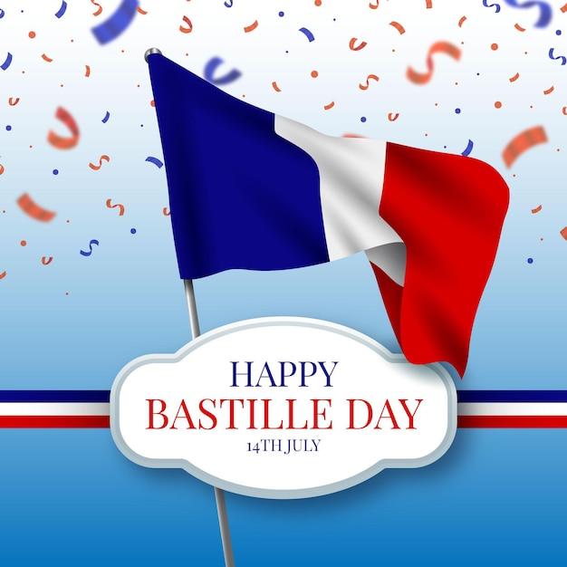 Realistische gelukkige bastille-dag met vlag en confetti Gratis Vector
