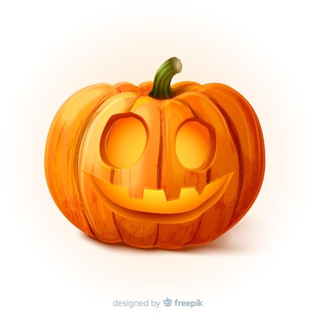 Realistische gelukkige halloween-pompoen Gratis Vector
