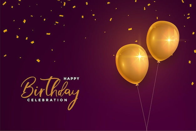 Realistische gelukkige verjaardag gouden ballonnen op kastanjebruine achtergrond Gratis Vector