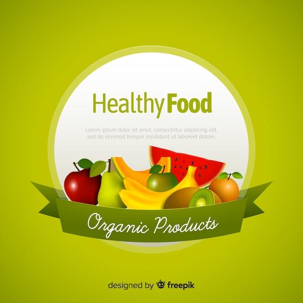 Realistische gezonde voedselachtergrond Gratis Vector
