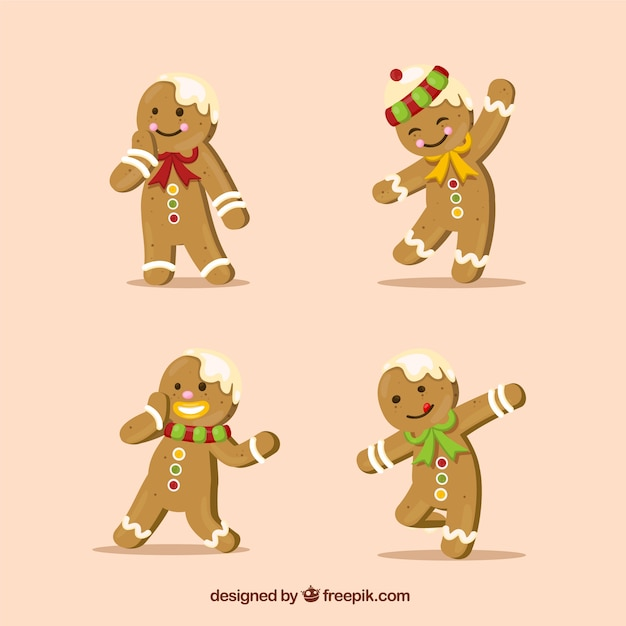 Realistische gingerbread man cookies Gratis Vector