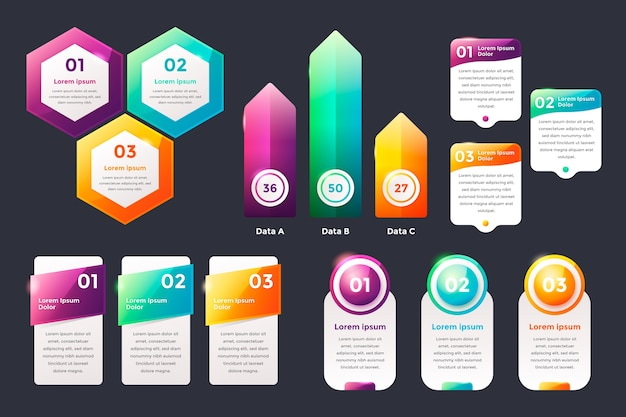 Realistische glanzende infographic elementen Gratis Vector