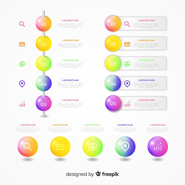 Realistische glanzende infographic elementencollectie Gratis Vector