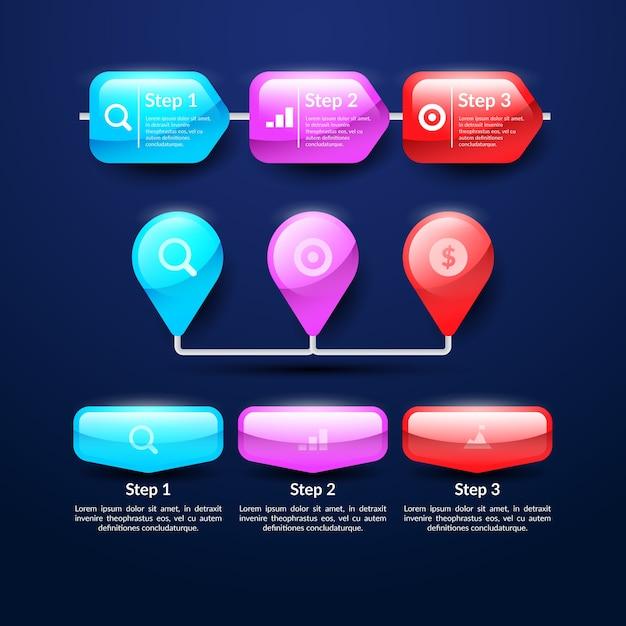 Realistische glanzende infographic elementenverzameling Gratis Vector