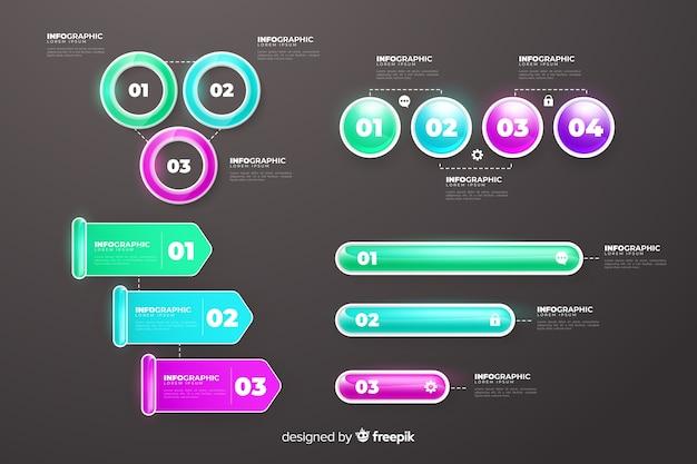 Realistische glanzende plastic infographic elementen Gratis Vector