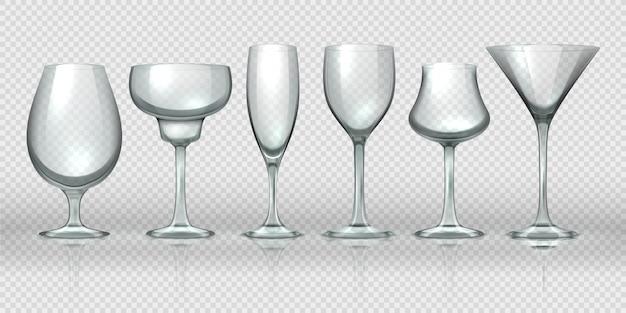 Realistische glazen bekers. lege transparante champagne cocktail wijnglazen en bekers. realistische 3d-kristalglaswerk ontwerpsjablonen voor alcoholcocktail whiskybier en water Premium Vector