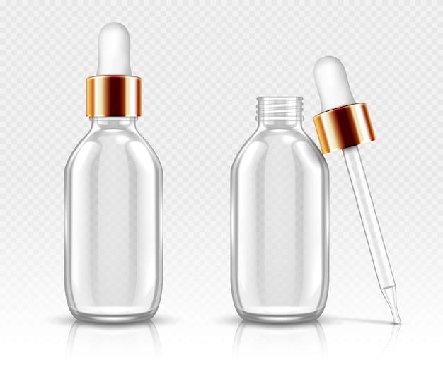 Realistische glazen flessen met druppelaar voor serum of olie. cosmetische fles of flesjes voor organische aroma-essentie, anti-aging essentieel collageen voor schoonheidsverzorging, geïsoleerde transparante flacon 3d Gratis Vector