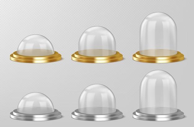 Realistische glazen koepels, souvenirs van de kerstmissneeuwbol, geïsoleerde kristallen halve bolcontainers op zilver Gratis Vector