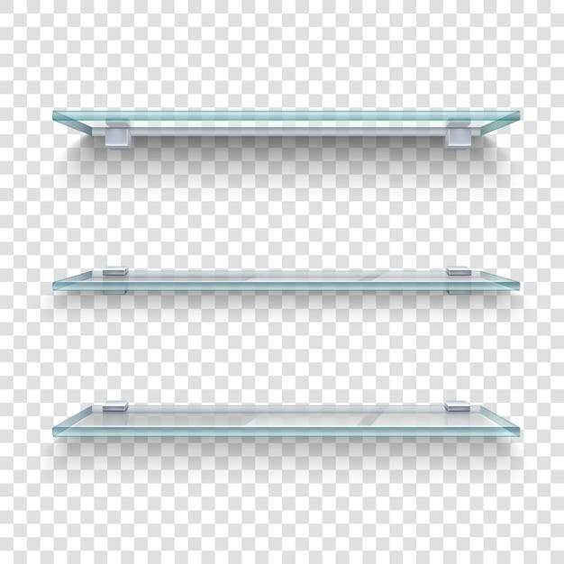 Realistische glazen planken set Gratis Vector